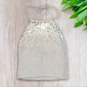 The Limited Baby Blue Knit Sequin Halter